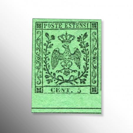 Antichi Stati | Ducato di Modena, 5 c. verde, senza punto dopo le cifre, 1852