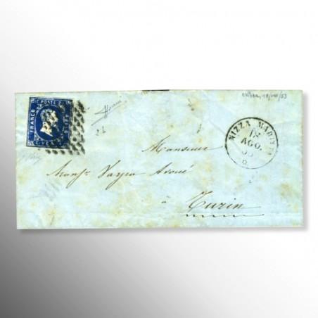 Antichi Stati   20 centesimi azzurro, I emissione su busta, 1851/1853
