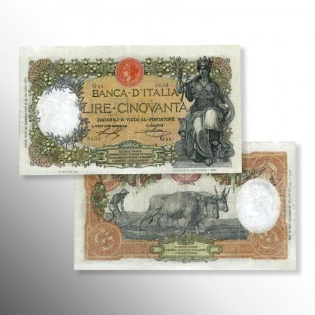 """Regno d'Italia   Biglietto di banca da 50 Lire """"Minerva"""", 1915-1920"""